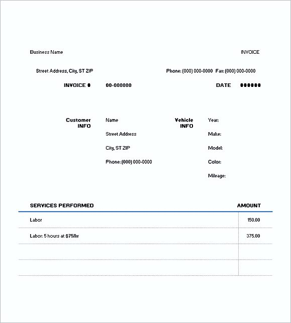 Sample Auto Repair Invoice Best Invoice Images On Pinterest - Auto repair invoice template free