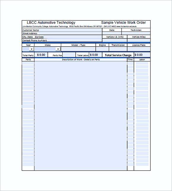 auto repair invoice templates pdf