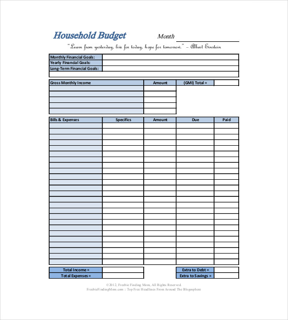basic household budget template