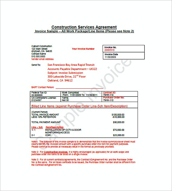 construction billing invoice templates