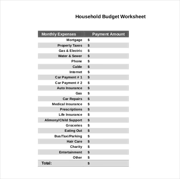 daily household budget template