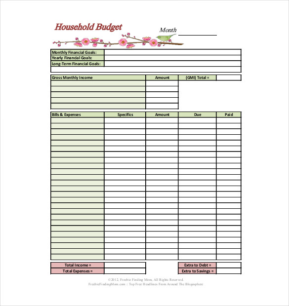 template for household budget