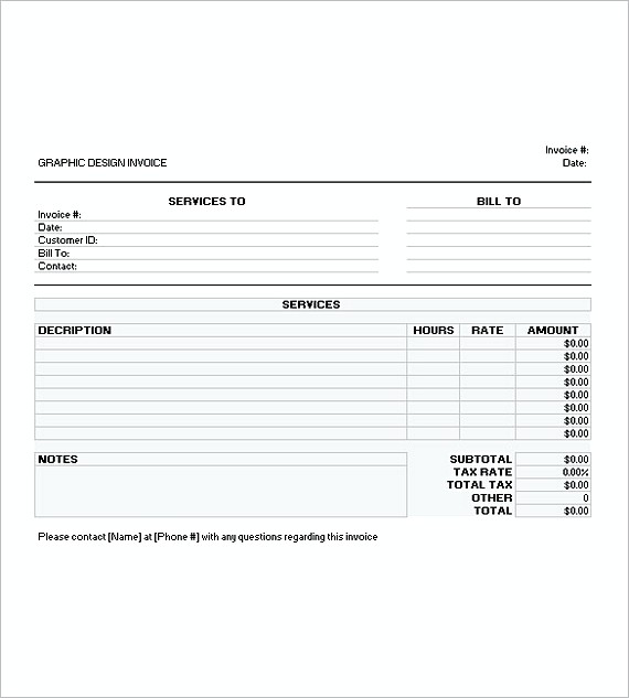 graphic design invoice templates excel