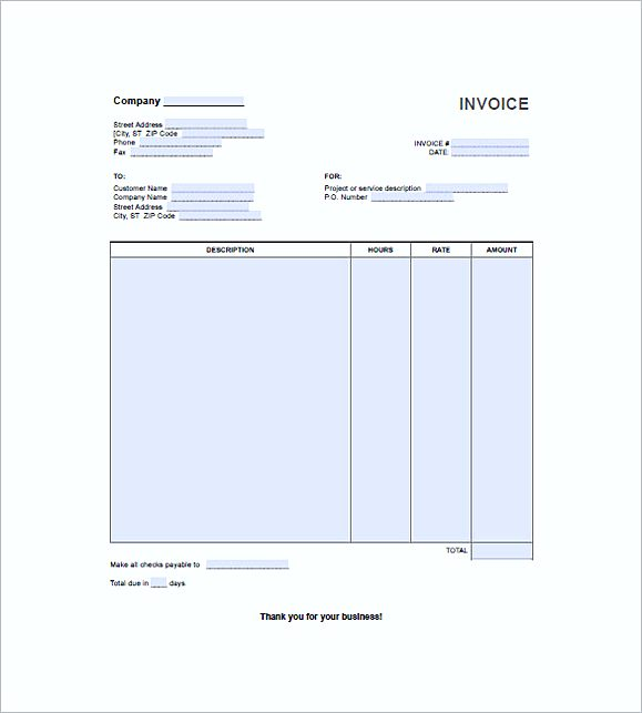 hourly service invoice templates