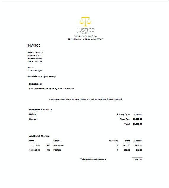 legal invoice sample