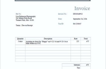 photography invoice templates pdf
