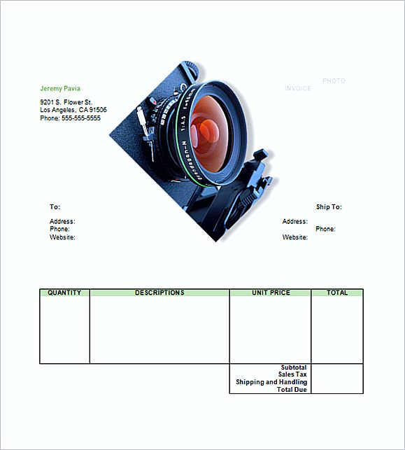 photography invoice templates word