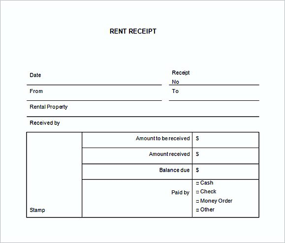 annual rent receipt template