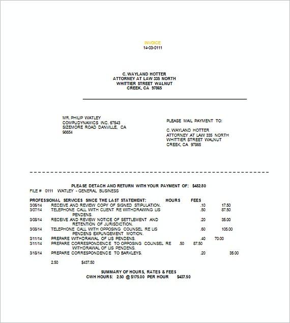 sample legal invoice templates