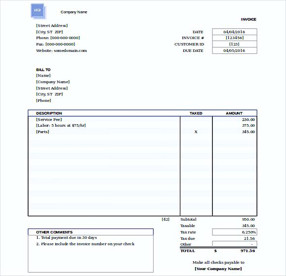free invoice templates for word