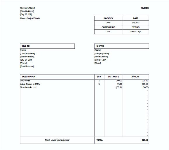 simple Free Microsoft Billing Invoice Doc Format