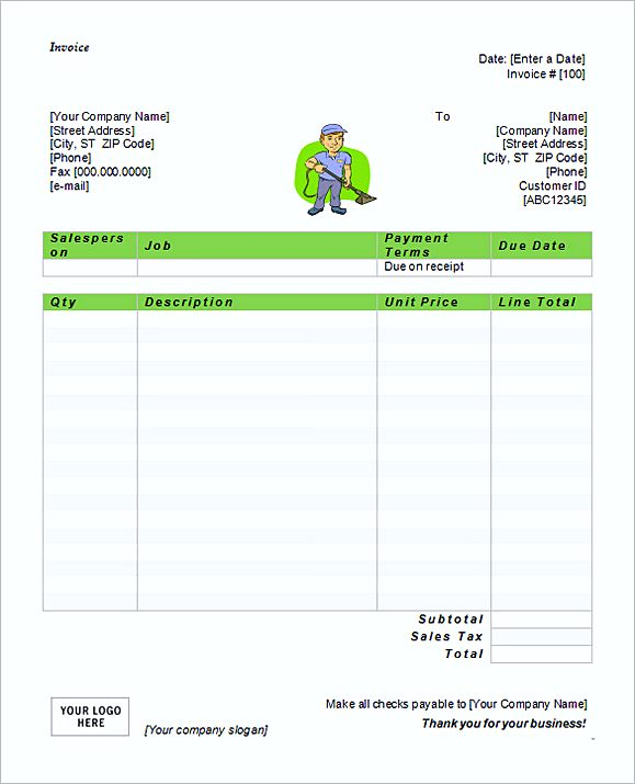 Free Invoice Template On Word. Service Invoice Format In Word
