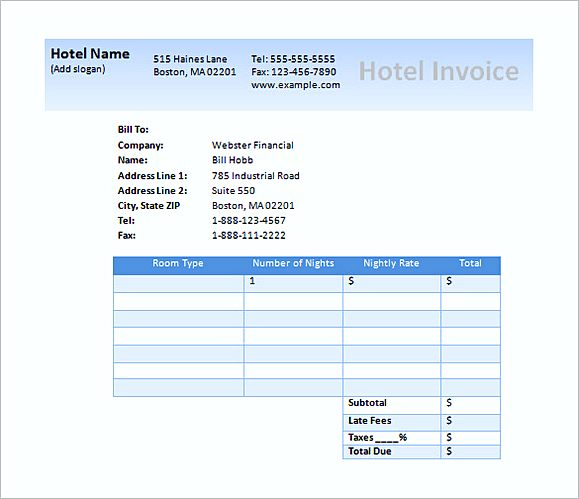 Hotel Invoices Bill Hotel Format In Word Nurse Resumed Invoice