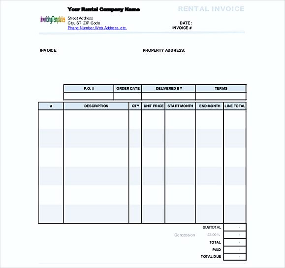 simple Rental Invoice Free Doc Format