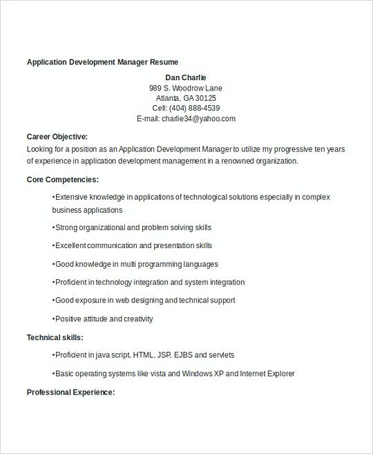 Application Development Manager resume template