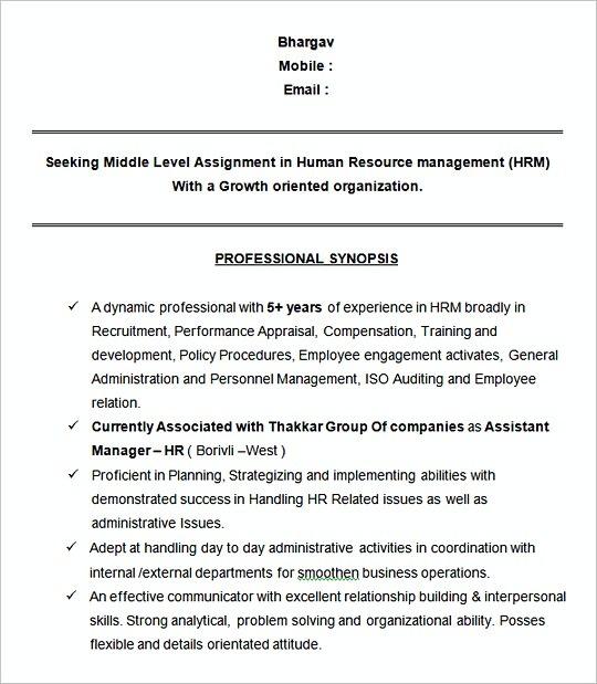 Assistant Manager HR Sampleresume template