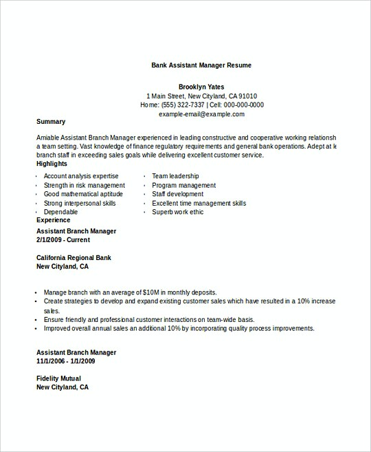 Bank Assistant Manager resume template