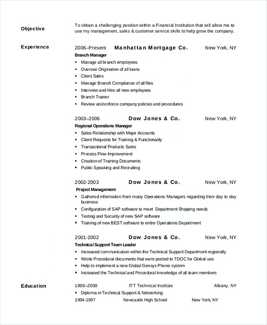 Bank Manager resume template PDF