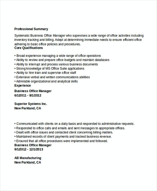 Business Office Manager resume template