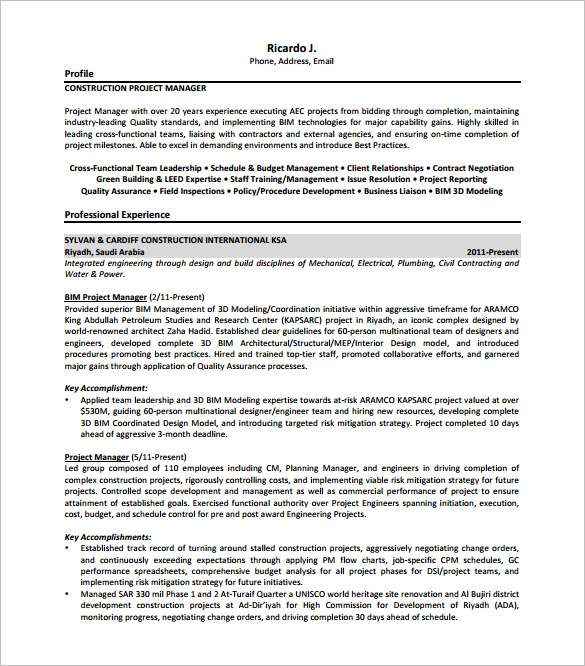 Construction Project Manager Resume Free