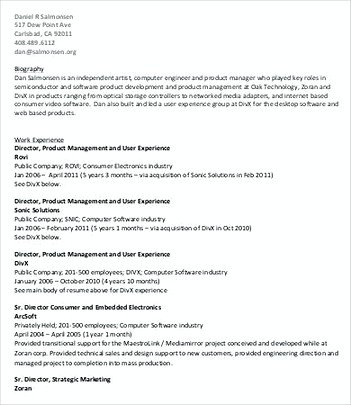 Director of Product Management Resume