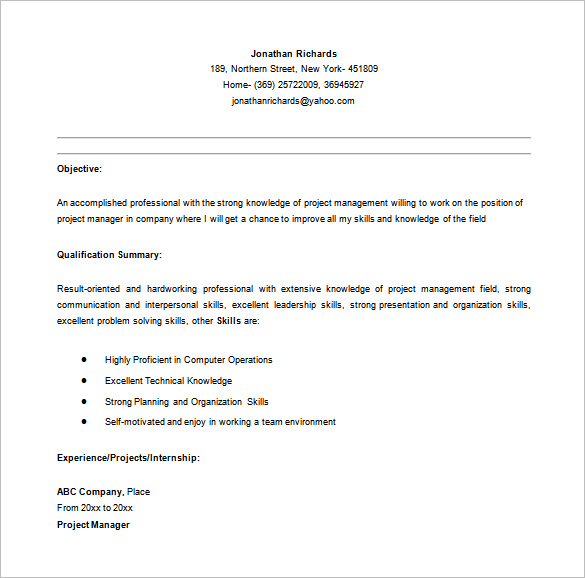 Entry Level Project Manager Resume in MS Word