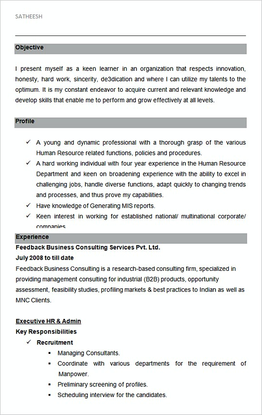 hiring manager resume With sample resume for hr and admin executive