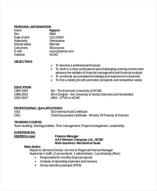 Finance Manager resume template Doc