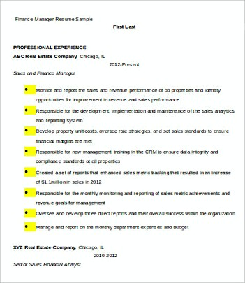 Finance Manager resume template Sample