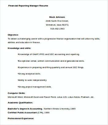 Financial Reporting Manager resume template