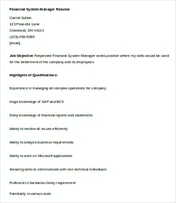 Financial Systems Manager resume template