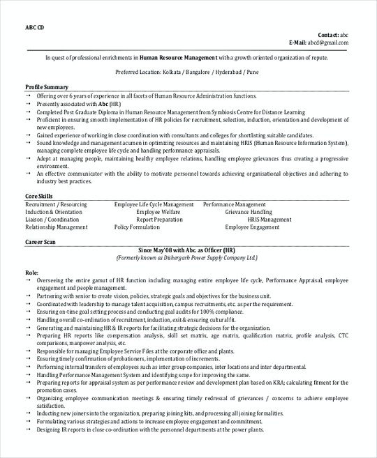 Hr Manager resume template Format