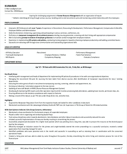Hr Recruitment Manager Resume Template