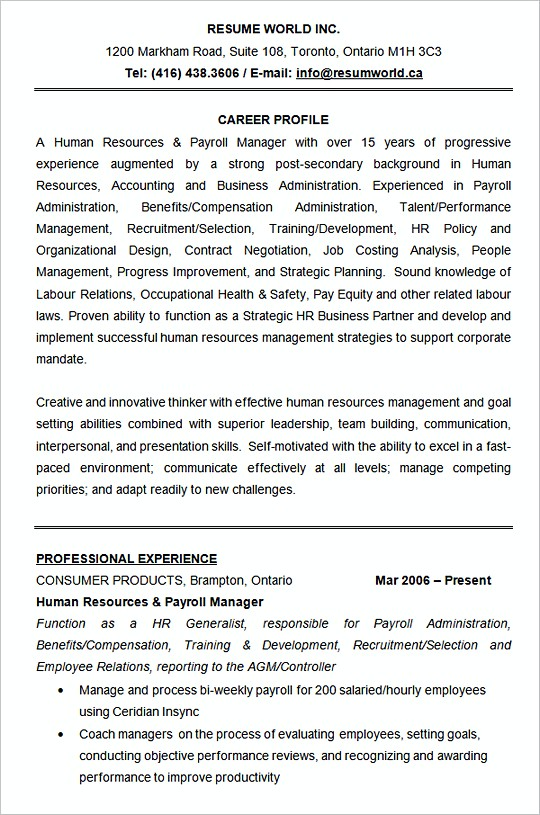 hiring manager resume