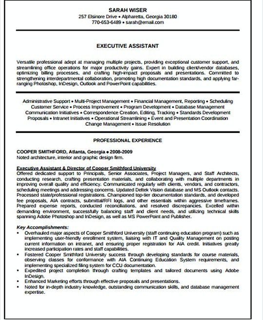 IT Executive Assistant resume template