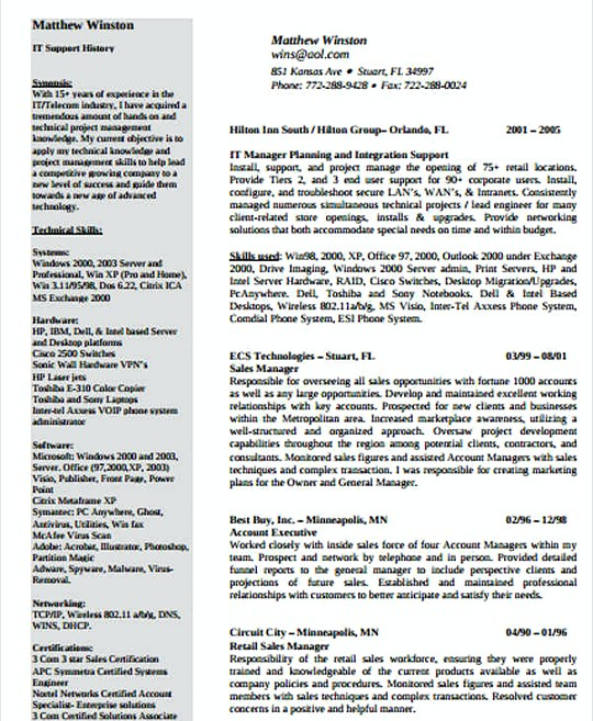 IT Networking Manager resume template