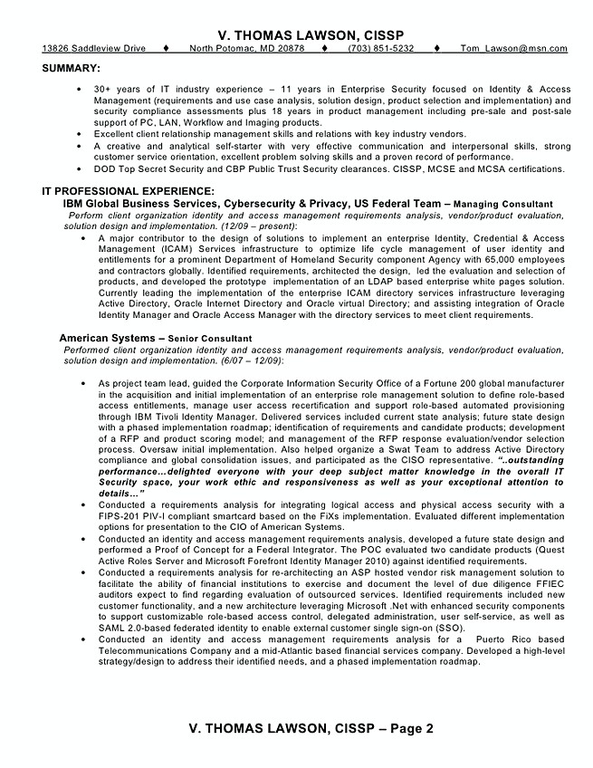 Identity and access management resume sample