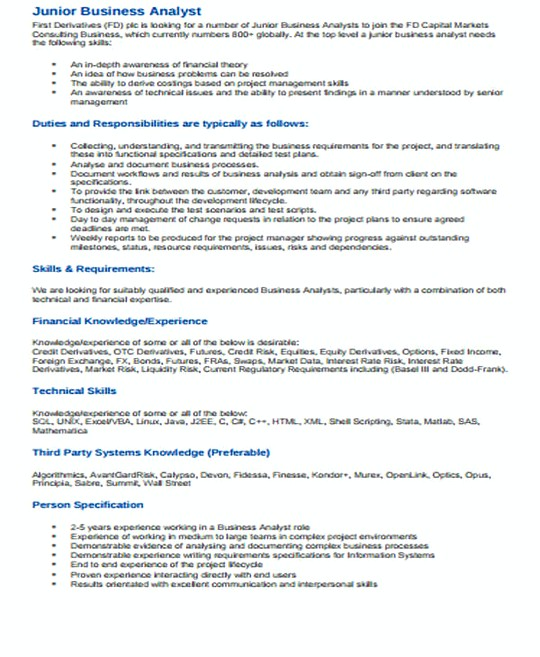 Junior IT Business Analyst resume template