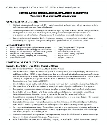 Product Line Manager Resume