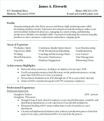 Production Manager Resume Format