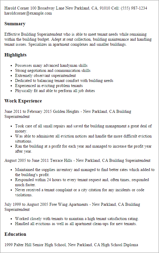 Professional building manager resume