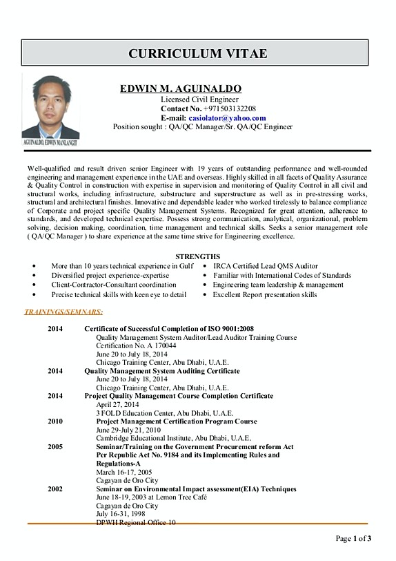 quality control manager resume pdf