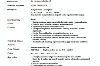 Quality Control Manager Resume template