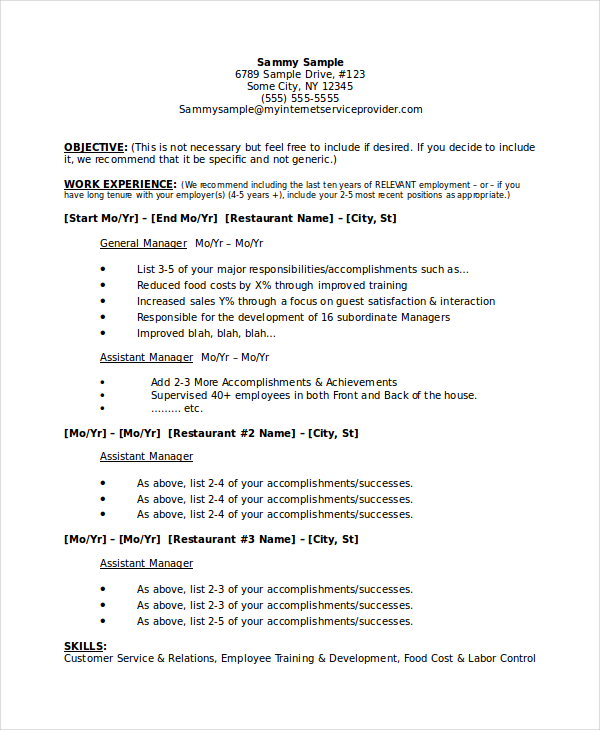 creative restaurant general manager resume sample and