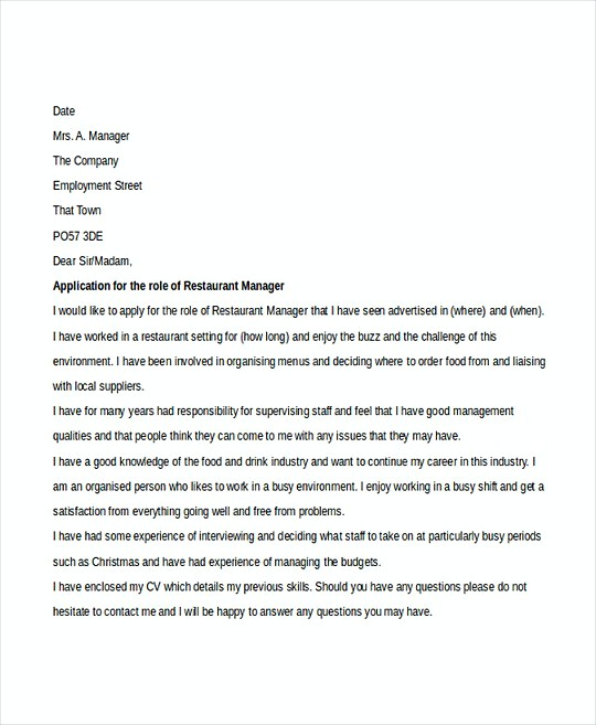 Restaurant Manager resume template Cover Letter