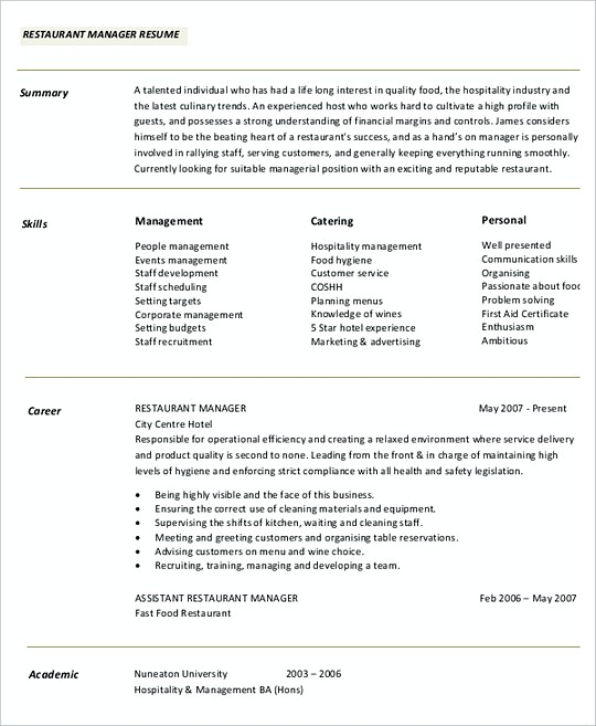 Restaurant Manager resume template Sample