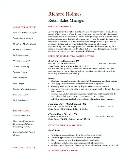 Retail Sales Manager resume template