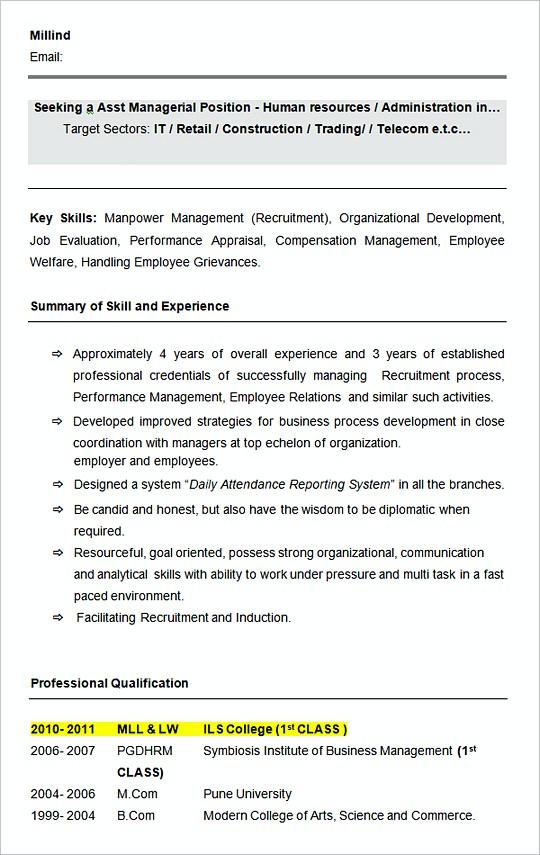 Sample Asst HR Manager resume template Format