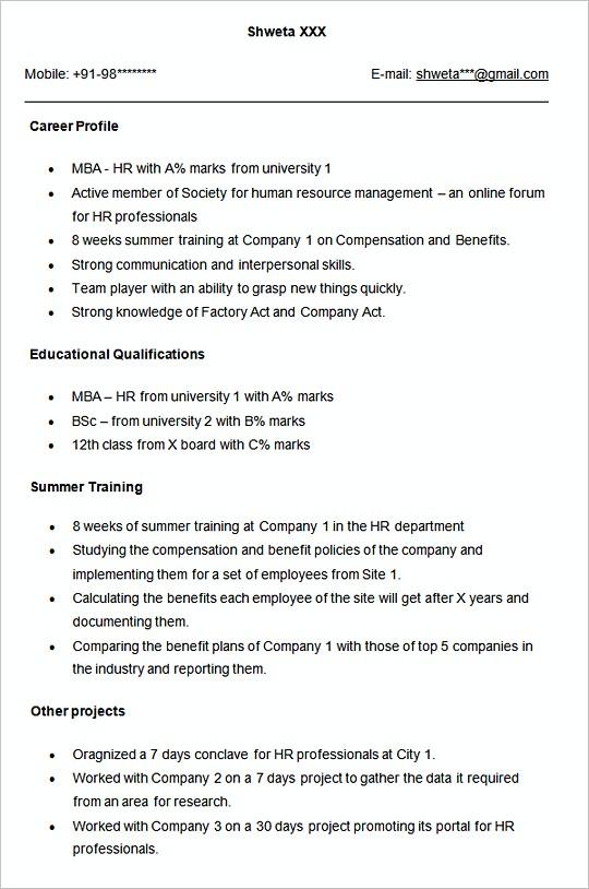 Sample resume template for HR Fresher