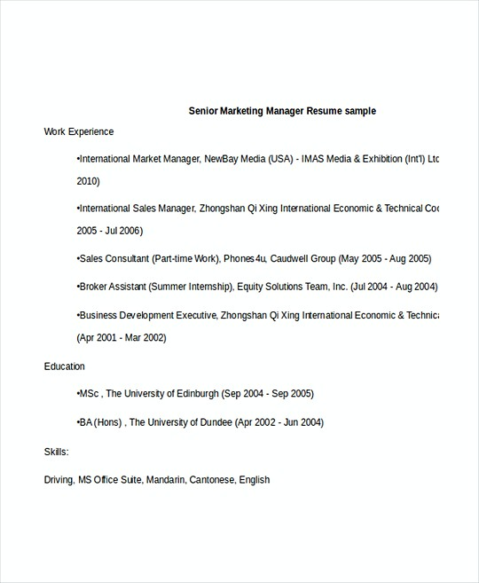 Senior Marketing Manager resume template